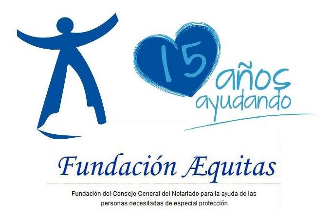 Logotipo de la Fundación Aequitas en su XV aniversario