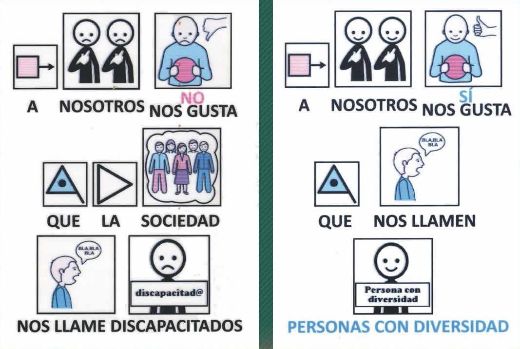 Pictograma 'No nos gusta que la sociedad nos llame discapacitados, nos gusta que nos llame Personas con diversidad' [Clic para ampliar la imagen]